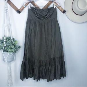 GAP BOHO Olive Strapless Dress with Pom Pom Detail
